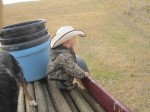 Waiting to help load the barrel