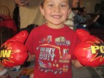 Lige with his new boxing gloves