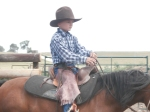 This shows how well the saddle insert fits a larger kid, bout like a bronc saddle now