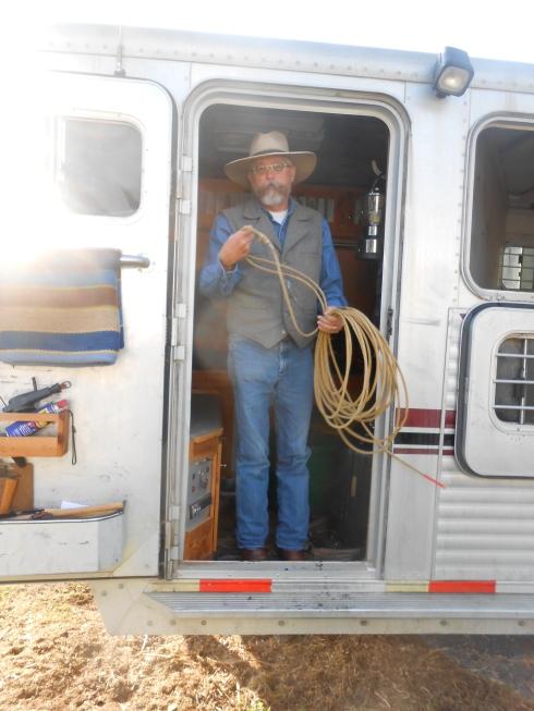 Mike in the door of his trailer